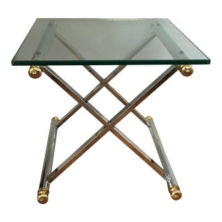 Chrome & Brass Directoire X Base Side Table