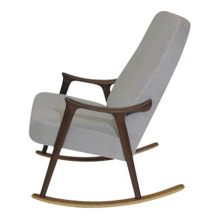 Scandinavian Highback Rocking Chair in Alpaca Mohair For Sale