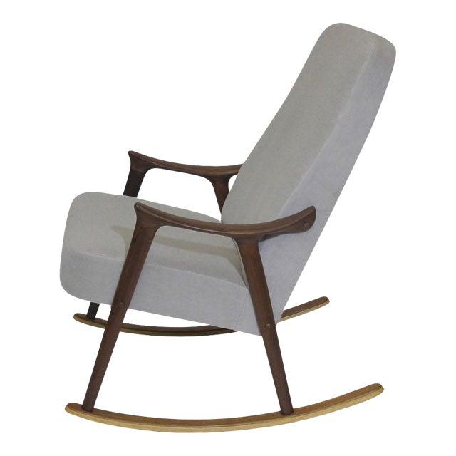 Scandinavian Highback Rocking Chair in Alpaca Mohair For Sale