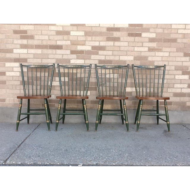 Mid 20th Century Vintage Hitchcock Windsor Style Stick Back Chairs - Set of 4 For Sale - Image 5 of 5