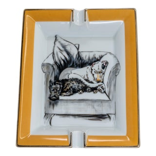 Mid 20th Century Hermes French Limoges Porcelain Catchall Tray With Two Dogs Lounging on Armchair For Sale