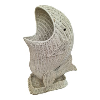 Wicker Fish Laundry Basket For Sale
