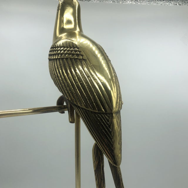 Hollywood Regency Mid Century Solid Brass Cockatoo on Perch Figurine For Sale - Image 10 of 13