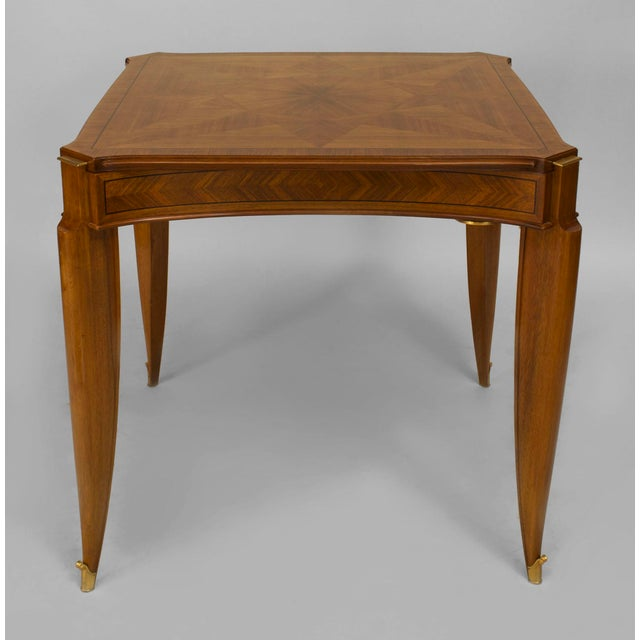 Wood 1940s French Art Deco Light Mahogany Square Game Table For Sale - Image 7 of 7