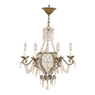 Vintage Beaded and Crystal Chandelier For Sale