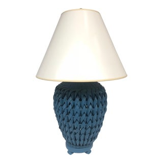 Blue Woven Wicker Table Lamp With Lacquered Shade