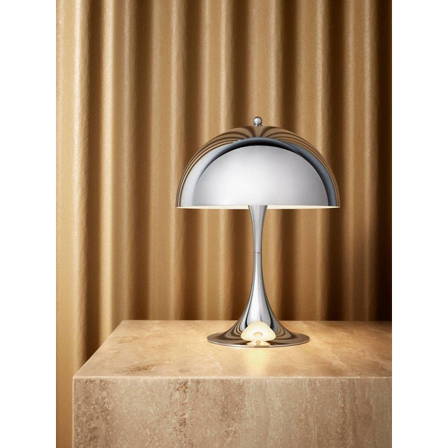 Mid-Century Modern Verner Panton 'Panthella Mini' Table Lamp in Chrome for Louis Poulsen For Sale - Image 3 of 6