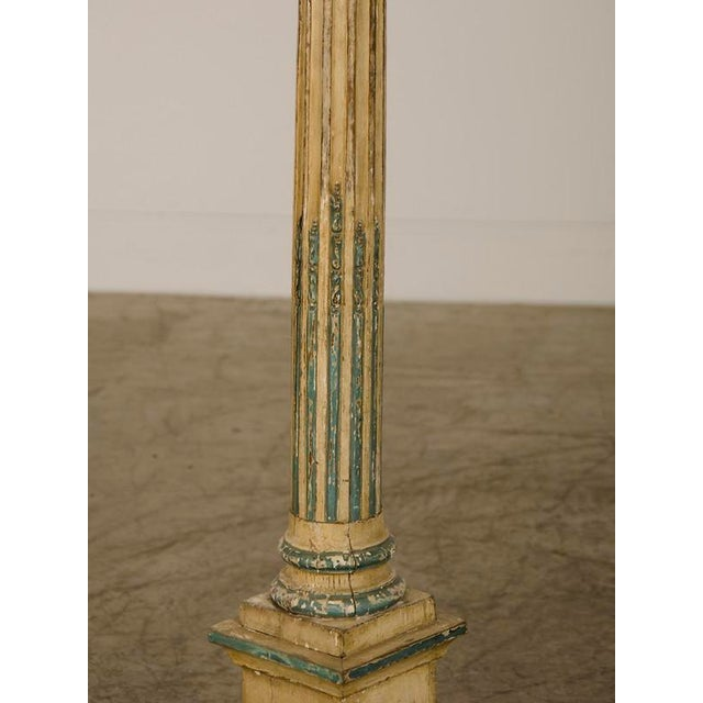 Late 19th Century 19th Century Italian Neoclassical Carved Wooden Original Painted Finish Candle Stand For Sale - Image 5 of 8