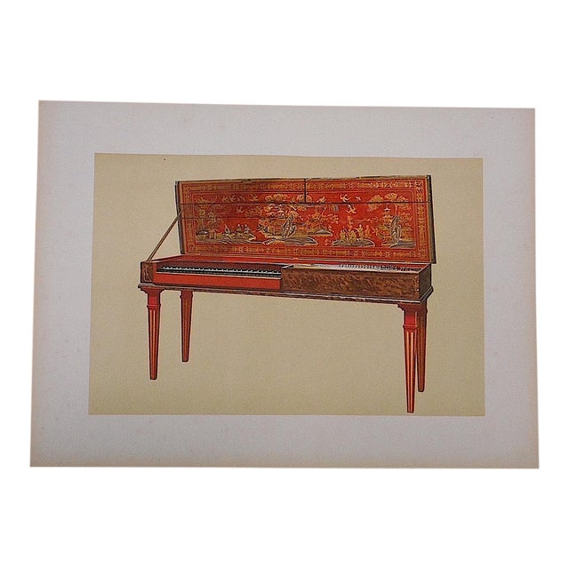 Antique Lithograph Musical Instruments, Clavichord For Sale