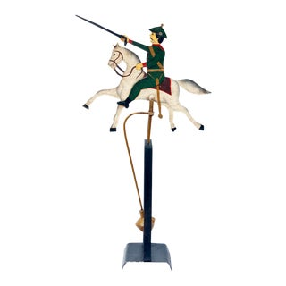 Antique 1900s Balancing Iron Soldier on Horse For Sale