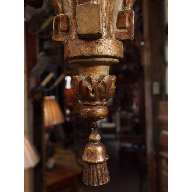 18th Century Italian Small Gilt Wood Chandelier For Sale In New Orleans - Image 6 of 6