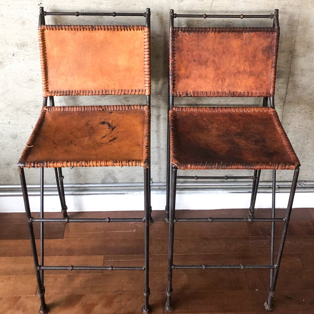 Ilana Goor 1970s Vintage Iron & Leather Brutalist Bar Stools by Ilana Goor (2 Available) For Sale - Image 4 of 7