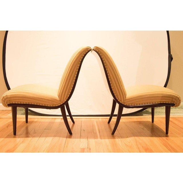 Viennese Biedermeier Style Art Deco Flare Slipper Chairs - a Pair - Image 5 of 10