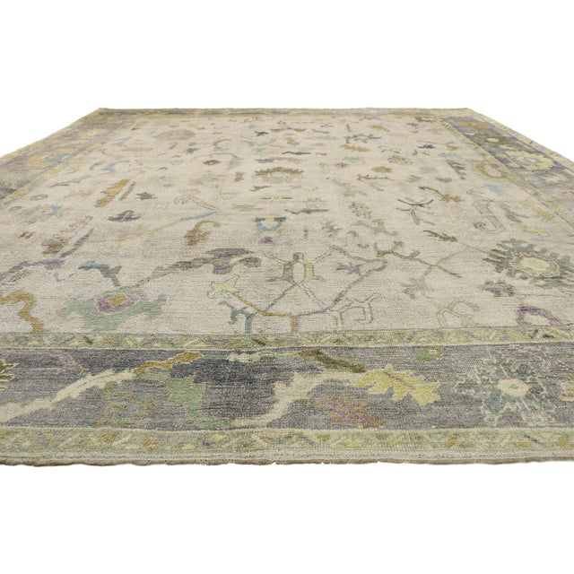 Modern Contemporary Turkish Oushak Rug With Pastel Colors - 12'05 X 17'01 For Sale - Image 3 of 9