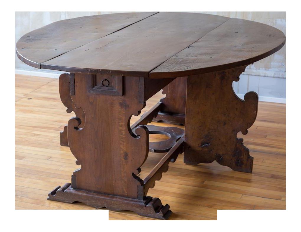 Italian Antique Drop Leaf Table Seats 6 Chairish
