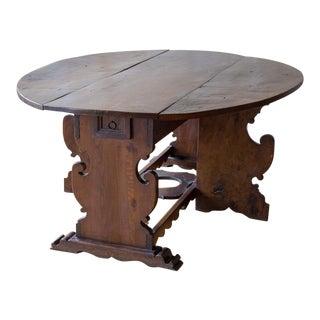 Italian Antique Drop Leaf Table- Seats 6 For Sale