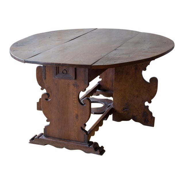 Italian Antique Drop Leaf Table- Seats 6 - Italian Antique Drop Leaf Table- Seats 6 Chairish