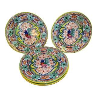 Portuguese Handmade Williams Sonoma Ceramic Rooster Plates - Set of 4 For Sale