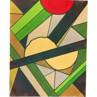1980s Abstract Hard Edge Marker Drawing Nyc Artist John Peters For Sale