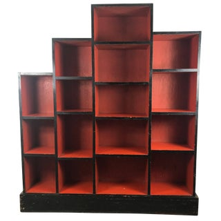 Paul Frankl Skyscraper Red and Black Art Deco Bookcase For Sale
