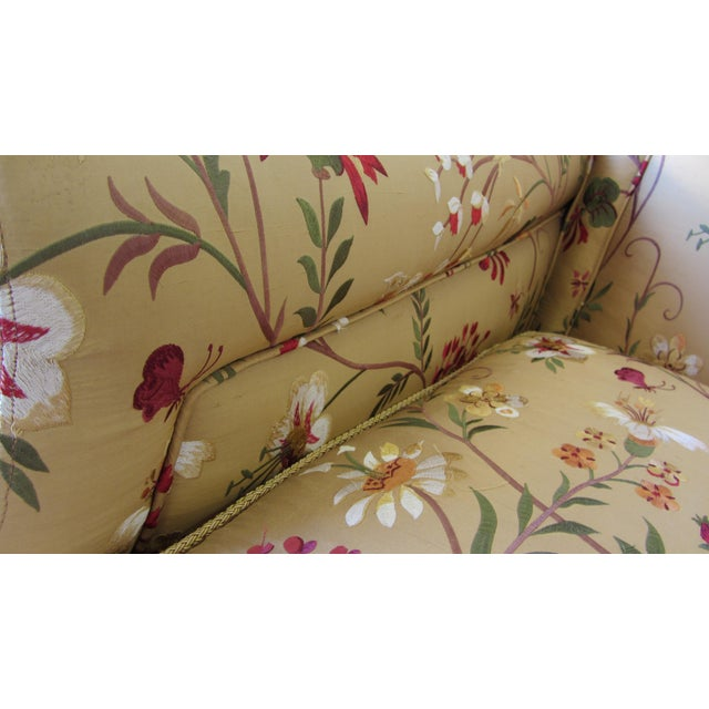 Silk Embroidered March Rocker Swivel Glider Chairs - a Pair - Image 8 of 8