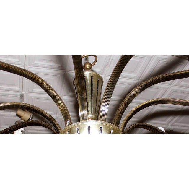 Mid 20th Century Regency Brass Chandelier For Sale - Image 4 of 6