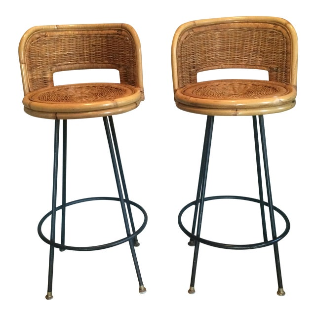 Vintage Seng of Chicago Wicker & Iron Stools - A Pair For Sale