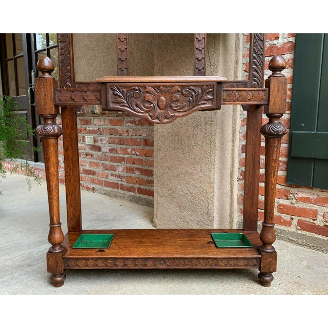 Antique English Carved Tiger Oak UMBRELLA STAND HALL TREE Dome MIRROR Renaissance ~Direct from England~ ~Gorgeous antique...