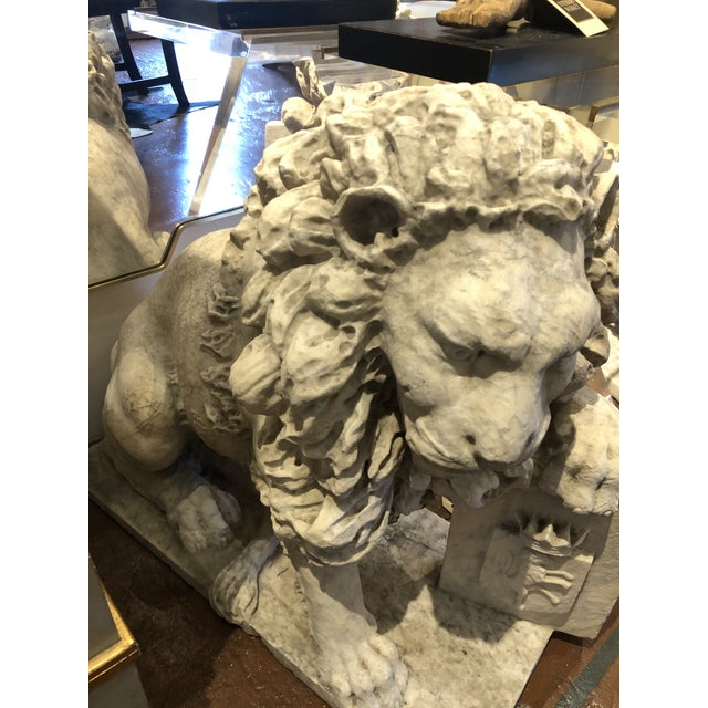18th Century Marble Lion Statues - a Pair For Sale - Image 10 of 13