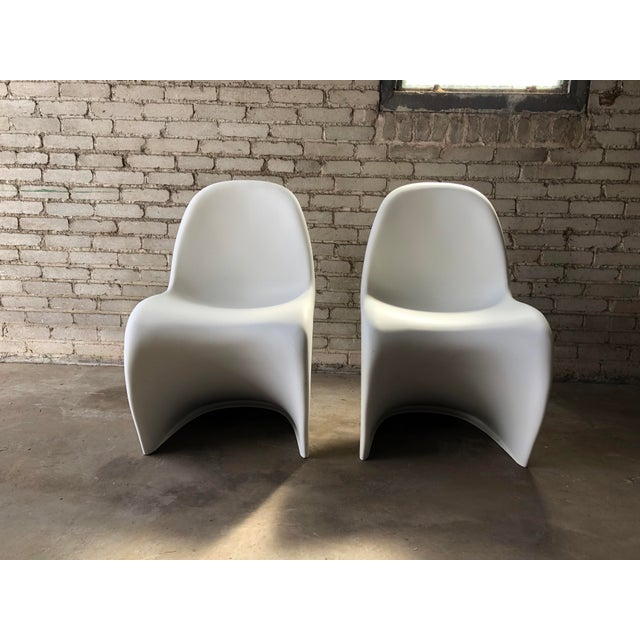 White Modern Vitra Panton Matte White S Chairs - A Pair For Sale - Image 8 of 13