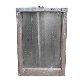 Pebbled Chicken Wire Glass in Galvanized Metal Frame For Sale
