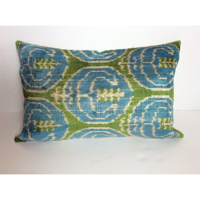 Blue And Green Silk And Velvet Ikat Pillow - Image 2 of 5