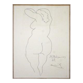 Mid Century Modern Pablo Picasso Femme Nu De Dos Etching Framed 1956 Nude For Sale