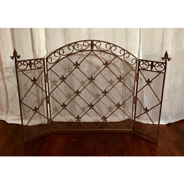 Timeless classic arched French folding three-panel fireplace screen. Styling reminiscent of the Louis Philippe time...