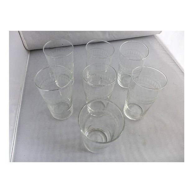 Mid-Century Modern Mid-Century Clear Etched Bar Glasses - Set of 7 For Sale - Image 3 of 5