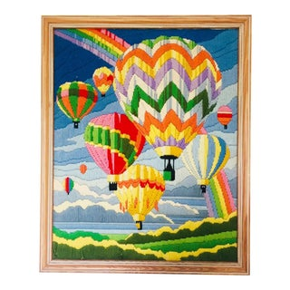 Vintage Hot Air Balloon Embroidery For Sale
