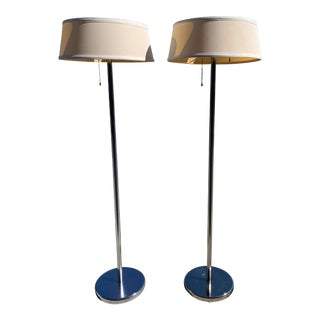 Pair of Midcentury Floor Lamps & Shades For Sale