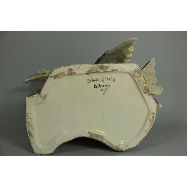 Early 20th Century Delphin Massier Majolica Figural Dove Vase For Sale - Image 6 of 11