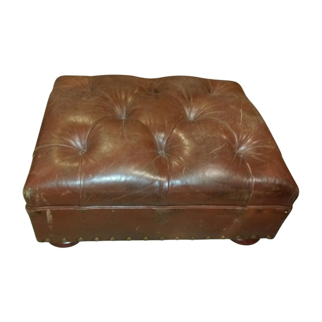 Vintage Ralph Lauren Leather Chair with Ottoman For Sale - Image 7 of 7