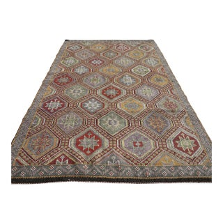"Vintage Turkish Embroidered Kilim Rug-6'2'x9'10"" For Sale"