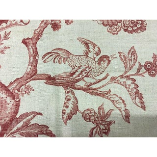 Stroheim & Romann Red Floral Linen Print With Birds Motif - 1.5 Yds For Sale