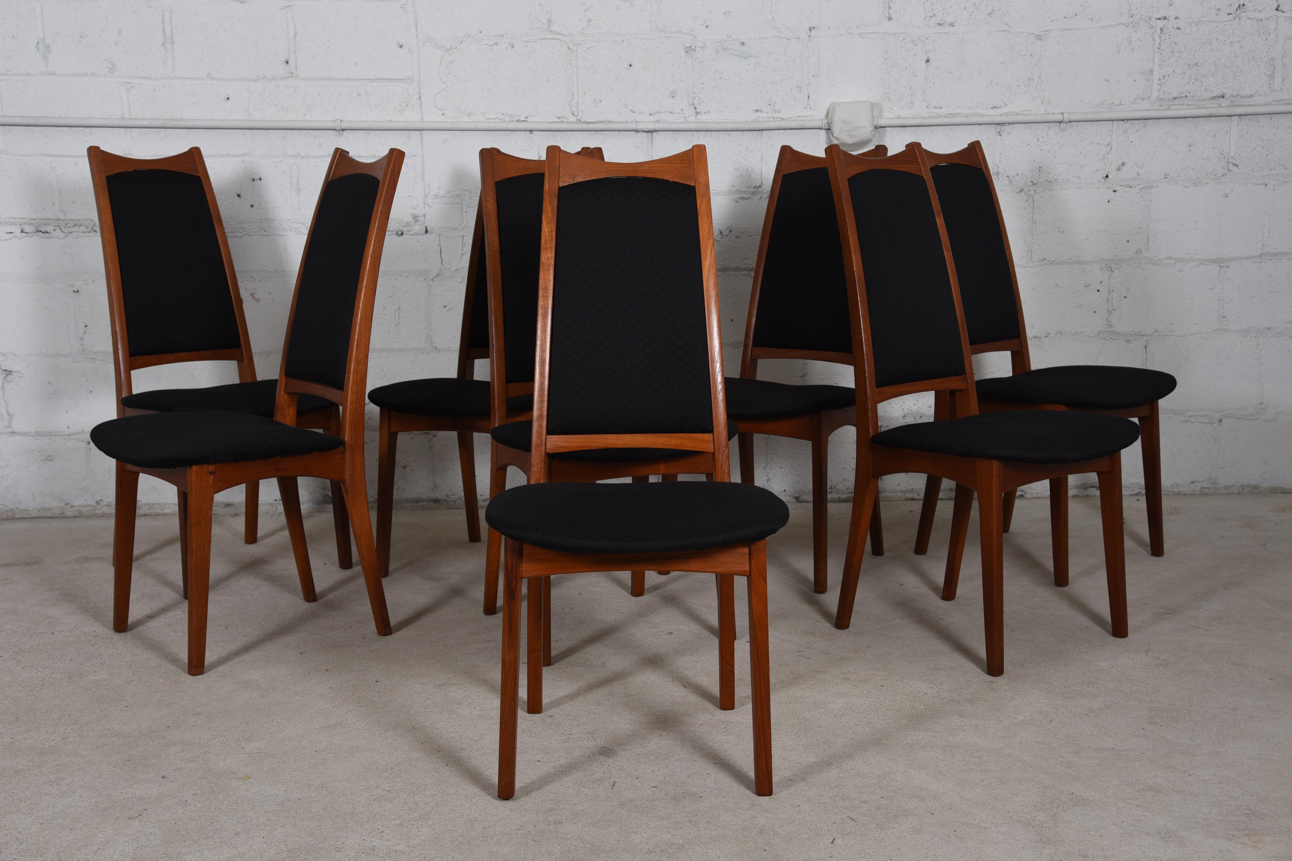 Moreddi Danish Teak Tall Back Dining Chairs W/ Black Upholstery   Set Of 8