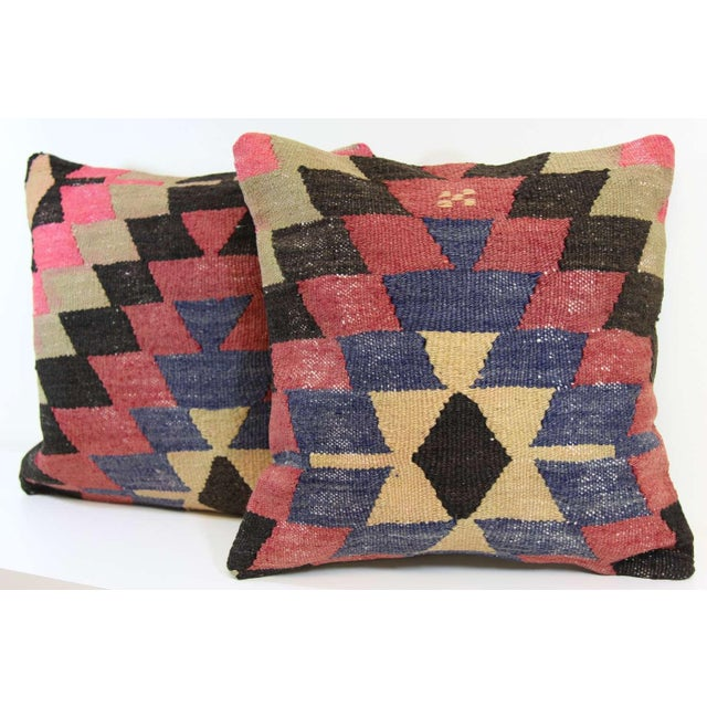 Kilim Pillow Covers - A Pair - Image 4 of 6