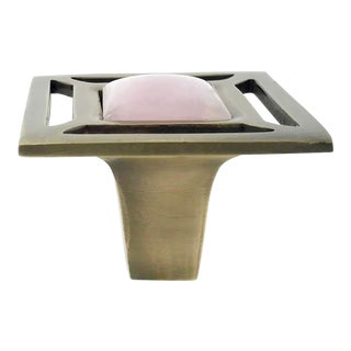 Addison Weeks Evans Knob, Antique Brass & Rose Quartz For Sale