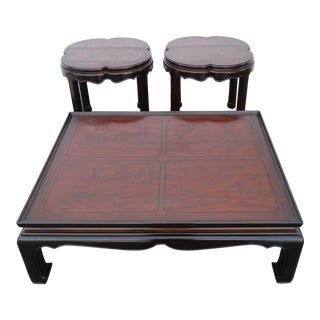 Drexel Heritage Hollywood Regency Carved Chinoiseie Coffee Table and Two Side Tables 2349 For Sale