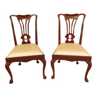 Georgian Style Ball and Claw Carved Mahogany Side Chairs - a Pair For Sale