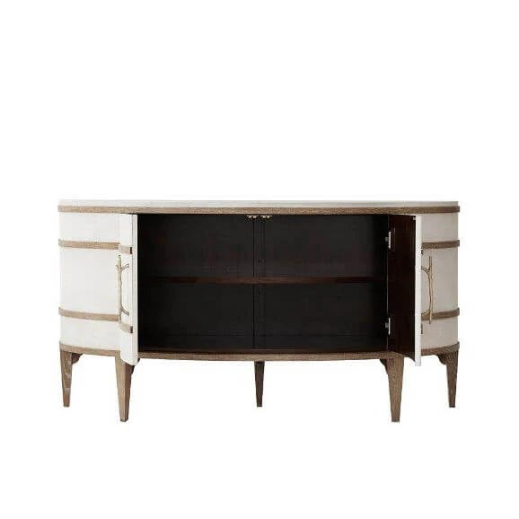 Modern Komod embossed leather panelled demi lune cabinet with figured Ofram veneers and solid Oak moldings in a cerused...