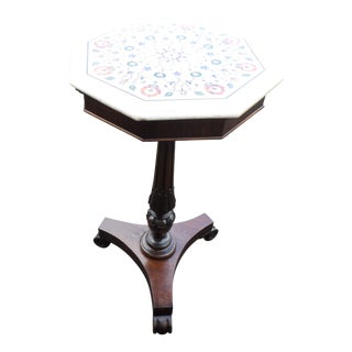 1880 English Regency Mahogany Brandy Stand With a Pietra Dura Top For Sale