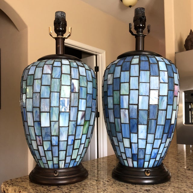 Arts and Crafts Geometric Blue Stained Glass Lamps - a Pair For Sale - Image 13 of 13