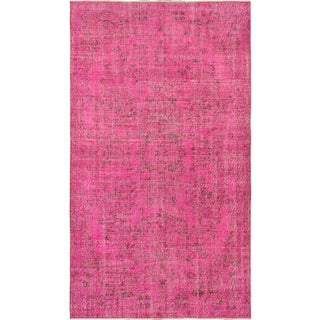 "Hot Pink Vintage Turkish Overdyed Rug - 5'5"" X 9'6"
